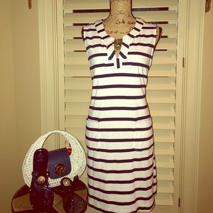 Kate Spade ♠️ Navy Striped Cotton Shift Dress XL